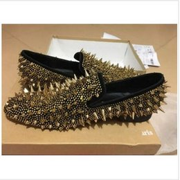 Wholesale Nails Birthday - [Real Pictures]Mens Wedding Loafer Shoes Red Sole,Male Dress Shoes Gold Big Nail Dandy pikpik spooky Shoes,Party Birthday Gift 35-46
