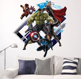 Wholesale Avengers Wall Stickers - Cartoon the avengers super hero wall stickers Home Decor Kids wallpaper Stickers Kids Party Decoration Christmas Wall Art