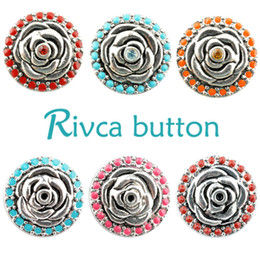 Wholesale Copper Snake Ring - D01378 Rivca Snap Button charms Jewelry High quality crystal 18mm Metal Noosa chunk Rhinestone Styles Ginger Snaps Bracelets For Women