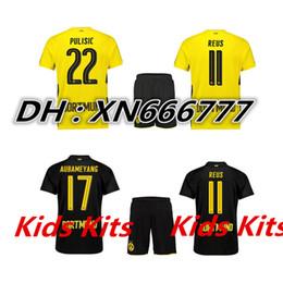 Wholesale Sports Jersey Kits - Top quality 2017 2018 away home football jersey 17 18 kids kit REUS Aubameyang PULISIC DEMBEME jersey Sports Set