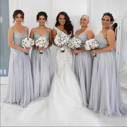 Wholesale Oranges Floor Lenght Dress - Silver Chiffon Spaghetti Long Bridesmaid Dresses With Lace Applique Tiered Ruffle Back Zipper Floor-Lenght Custom Made Wedding Guest Gowns