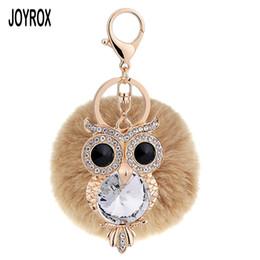 Wholesale owl moon charm - JOYROX 2017 Charm Owl Gold Color Metal Key Chain Car Accessories Fashion Crystal Hang Bag Ball Key Ring Trinket For Women
