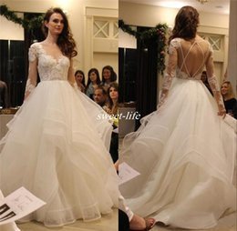 Wholesale Long Sleeves Wedding Dress China - 2017 Hayley Paige Boho Backless Wedding Dresses Long Sleeves Cascading Ruffles Tiered Skirt Plus Size China Greek Style Tulle Bridal Gowns