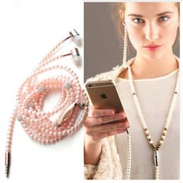 Wholesale Diamond Earphone Headphones - Luxury Bling Diamond Earphones Pearl Necklace Chain Stereo In-Ear Headphone With Mic For iPhone 7 6s Plus Samsung Galaxy HTC LG