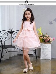 Wholesale Pink Vest Girl - 2017 summer sweet cake skirt, girl embroidered vest, dress lace, European butterfly knot skirt