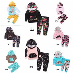 Wholesale Boutique Clothes For Girls Wholesale - Kids 2pcs Clothing Set Stripe flower Print Baby Boys Girls Hoodie Pants Boutique set for 0-2T Infant Spring Autumn Outfits