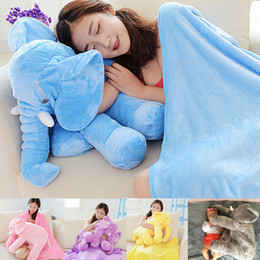 Wholesale Blanket Elephant Toys - Elephant Plush pillow children sleep blanket Halloween gift INS Elephant Soft Plush toys 60cm 23.6 inches stuffed animal with blanket C2540