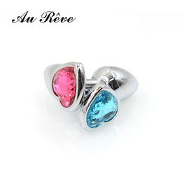 Wholesale Anal Jewelry For Men - AuReve Hot Sale Smooth Steel Anal Plug Pretty Crystal Heart Shaped Jewelry Metal Butt Plug Sex Toys For Men Women Free Shipping