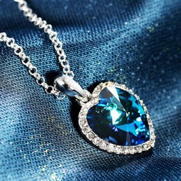 Wholesale Swarovski Necklace Ocean Heart - Fashion film Heart of the ocean titanic perliamo necklace made with Austrian crystals from Swarovski for women gift 2017