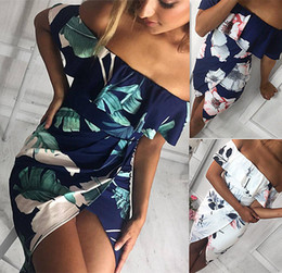 Wholesale Ladies Dress Embroidery - Flower Printed Dress Women Fashion Ruffles Slash Neck High Split Asymmetrical Beach Wrap Dress Elegant Party Ladies Summer Dress DY170731