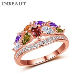 Wholesale Wedding Crowns China - Wholesale 18KPG Rose Gold-color Colorful Crystal Crown Ring for Girls Original Princess Cut Cubic Zirconia Statement Wedding Ring