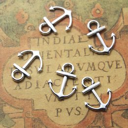 Wholesale Bracelet Anchor Bead Connector - New 50 pcs Silver plated Mini Anchor Charm connectors - 19x15mm Anchor bracelet connector pendant beads Vintage DIY Jewelry Findings Metal