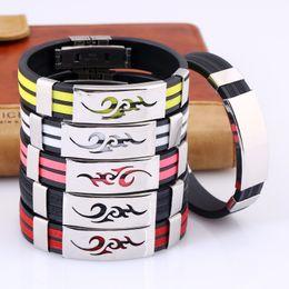 Wholesale silicone bracelet id - 7 colors Fashion Flame pattern Bracelets Length 21cm Stainless steel adjustable hand buckle Popular Silicone Bracelet for men