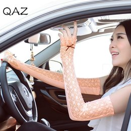 Wholesale uv arm sleeves women - Wholesale- Women Fashion Summer Lace Arm Sleeves Cover Uv Arm Cover Sun Protection Driving Arm Sleeve Cuff Elbow W375