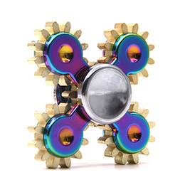 Wholesale Toy Gear Wheels - Gadget 4 GEAR Rainbow EDC handspinner Hand spinner fidget toy Steampunk fidget machine with 4 wheels DHL OTH487