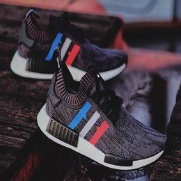 Wholesale Classic Shoes Online - New arrive NMD Runner R1 Primeknit PK Tri-Color Red white blue Men Women Running Shoes Classic sports Sneakers Shoes Eur 36-44 cheap online