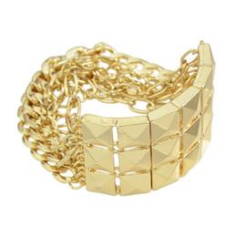 Wholesale Rivets Gun - Pulseras Bracelet Punk Rock Bracelet New Fashion Link Chain Bracelet Gold Silver and Gun Black Color Metal Rivet Bracelets for Women