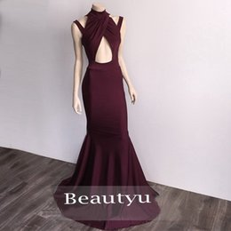 Wholesale Keyhole Cut Out - Simple Cheap Long Mermaid Prom Dress 2017 Arabic Stunning High Neck Spaghetti Strap Sexy Cut Out Front Spandex Floor Length Evening Gowns