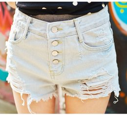 Wholesale Bleach Girls Sexy - Girls Sexy ripped short Jeans Female Casual Bleached jeans Blue Shorts jeans female street style free shipping
