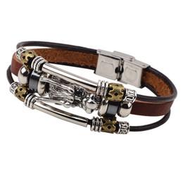 Wholesale Leather Belts Men Cheap - Wholesale-2016 Fashion Male Cool Genuine Leather Bracelet Men Belt Buckle Cuff Bracelets Cheap Chinese Dragon Head Jewelry