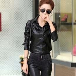 Wholesale Women Long Leather Sleeve Shirts - Wholesale- Women Blouses Jacket 2017 Spring Temperament Slim Thin Long-Sleeved Top Women Shirts PU Leather Shirt Plus Size Women Tops DM236