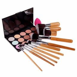 Wholesale Eyebrow Sponge Brush - Wholesale-11Pcs Bamboo Eyeshadow Eyebrow Foundation Brush Make up Brushes + 15 Colors Concealer Palette Sponge Puff Set de corretivo