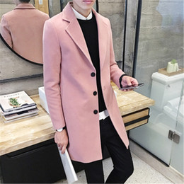 Wholesale Long Coat Korean Men - Wholesale- Men's 2016 new winter coat Korean Slim tide men's long coat male British style woolen coat male tide leisure big yards 8 colors