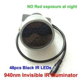 Wholesale Smallest Cctv - Small CCTV IR illuminator Lamp no red exposure 940nm Invisible Light Black Light Monitoring F5 48pcs IR LEDs CCTV Camera
