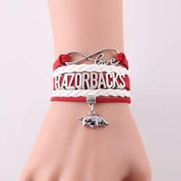 Wholesale Football Team Charms - Wholesale- Infinity Love Arkansas Razorbacks bracelet NCAA Sports Team football charm rope bracelets & bangeles for women men jewelry