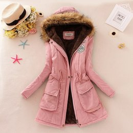 Wholesale Womens Pink Coat Fur - 2018 Winter Jacket Women New Winter Womens Parka Casual Outwear Hooded Coat Fur Women Coat Manteau Femme Woman Clothes