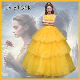 Wholesale Belle Adult Costume - 2017 New movie Beauty and the Beast Movie Princess Belle Emma Watson cosplay costume yellow dress adults Custom made