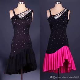 Wholesale Latin Dance Competition Dress Black - A83 New Adult Latin Dance Dress Salsa Tang Cha cha Ballroom Competition Group Dance Dress 2Color S-XXL Customizable