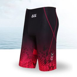Wholesale Competitive Swimsuit - Wholesale- Swimwear Men Competition Swimsuit Competitive Bathing suit training swimming Boxer Swim trunks sport Tight Shorts Swim Suit Red