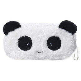 Argentina Al por mayor-Kids Cartoon Pencil Case Plush Large Pen Bag Maquillaje cosmético Cartoon Storage Bag panda Suministro