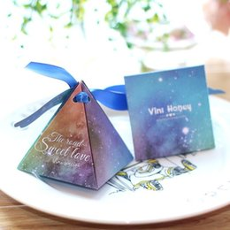 Wholesale Triangle Party Favors - Starry Sky Triangle Portable Paper Jewelry Wedding Favors Party Gift Bags Candies Pouch Holders Boxes Sachet Anniversary Birthday Shower Eve