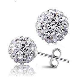 Wholesale Shamballa Ball Earrings - Trendy Jewelry 8MM Shamballa Stud Earrings Micro Disco Ball Crystal Brincos for Women Cute Girl Gift 10 Colors Available E1648