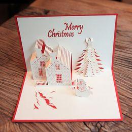 Vente en gros- (5 pièces / lot) Handmade Creative sculpture sur papier 3D Pop UP Cartes de château de Noël Joyeux Noël en gros Livraison gratuite ? partir de fabricateur