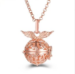 Canada Mode Argent Plaqué Or Wing Wing Aromatherapy Huile Essentielle Diffuseur Collier Pour Femmes Carillon Harmony Ange Ball Collier SYYF0196 Offre