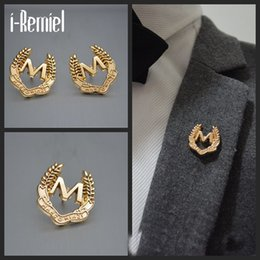 Wholesale Ear Pins Wedding - 2017 Special Offer Real Cross Brooch Trendy Brooches Broche Korean Fashion Suit M Ear Needle Collar Button Brooch Pin And Tide
