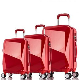Wholesale Red Trolley - 20 24inches Travel Suitcase, Women High Quality Rugged ABS+PC Wheels Trolley Luggage Box, Pure Colorluggage