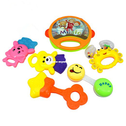 Wholesale Funny Baby Rattles - 6pcs set Kids Funny Bed Toys Baby Rattles Plastic Hand Shake Bell Ring Children Early Learning Educational Toys