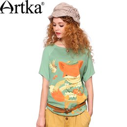 Wholesale Bell Fox - Wholesale- Artka 2014 Spring&Summer New Fox Colored Printed Skin-friendly Pale of Green O-Neck Cotton T-shirt TA10542X