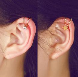 Niña estrella coreana online-Estilo coreano Star Star Pearl Ear Cuff Clip en los pendientes para las mujeres joyería de las muchachas 5E202