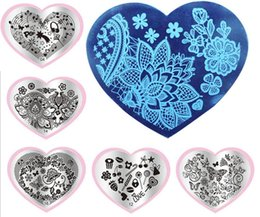 Wholesale Heart Nail Polish - 8pcs Stainless Steel Heart Manicure Template Nail Art Printing Polish Stamp Image Plate Christmas Elements Pattern