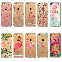 Wholesale Iphone 4s Fashion Covers - Case Cover For iPhone 7 6 6S Plus 5 5s SE 5C 4 4s Fashion Soft Clear Colorful Flamingo Transparent tpu Cases