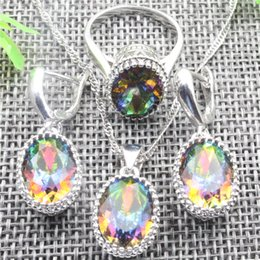 Wholesale Necklace Gift Box Mix Colors - Glamorous Sterling Silver Colorful Gems Jewelry Sets Earrings Pendant Necklace Ring For Women Free Jewelry Box