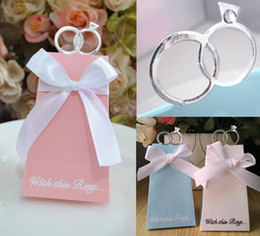 Wholesale Candy School Bags - Silver Rings Europe Wedding Candy Boxes Lovely Bow Blue White Pink Anniversaries Wedding Gift Boxes Paper Favor Candy Bags For Weddings