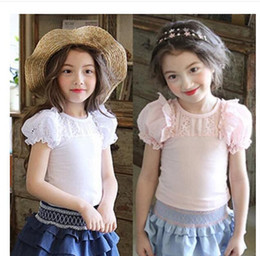 Wholesale Wholesale Puff Sleeves Girls Shirts - 2017 Baby Girls Lace Cotton T-shirts Kids Girls Princess Puff sleeve Tees Babies Summer Tops children's clothing