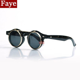 Wholesale Double Gradient Sunglasses - Wholesale-2017 New Fashion Vintage round Steampunk sun glasses Male Women double layer flip circle glasses steam punk sunglasses oculos