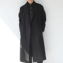 Wholesale Male Cape - Wholesale- Men long trench coat street punk rock new autumn male trench coat loose spring fashion casual cape cloak belt outerwear,Q124